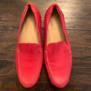 BALLY LEATHER RED LOAFERS